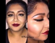 Eye wing with Red Lipstick